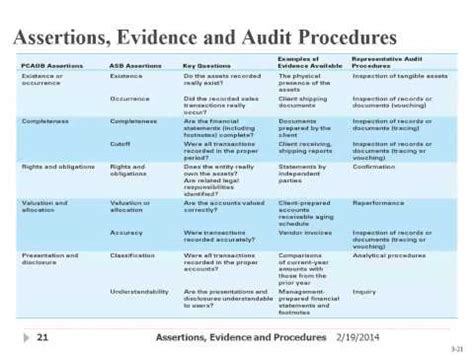 5 Audit Assertions by Assertions Evidence Audit Procedures Updated 16 Jul