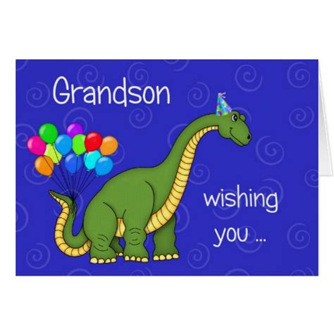 printable birthday cards grandson dinosaur grandson birthday greeting card zazzle