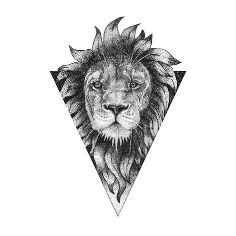lion dotwork tattoo lion tattoo design pinterest