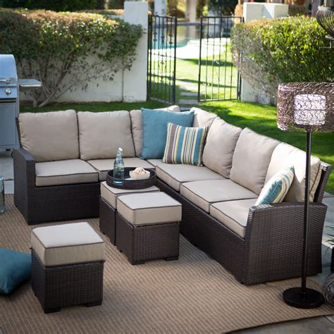 Patio Furniture Sectional Sets Belham Living Monticello All Weather Outdoor Wicker Sofa Sectional Set Conversation Patio Sets
