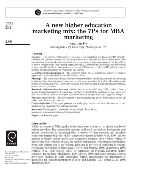 Marketing Research Pdf For Mba by A New Higher Education Marketing Mix The Pdf