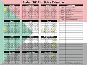 2018 Calendar South Holidays Sudan 2017 2018 Calendar
