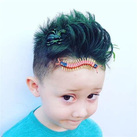 crazy hairstyles for boy age 9 boy crazy hair day style bugs and grass green hair