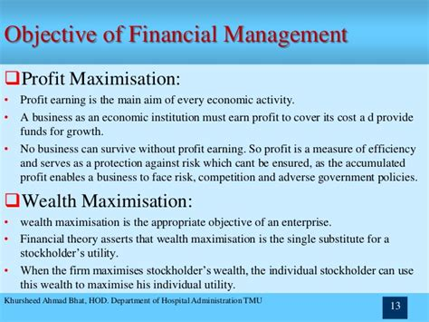 Objectives Of Financial Management Mba Notes by Chapter 1 Financial Management