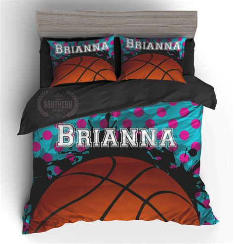 monogrammed coverlet personalized bedding set girls basketball comforter or duvet
