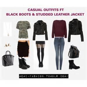 casual ft black botts amp studded leather jacket
