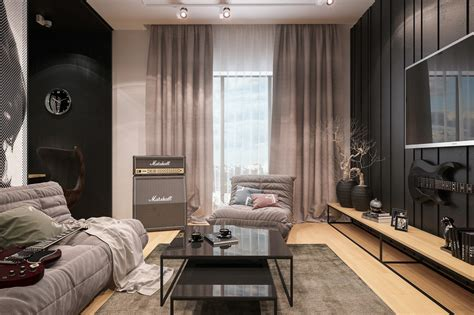 grey themed living room interior design for musicians 2 themed home designs