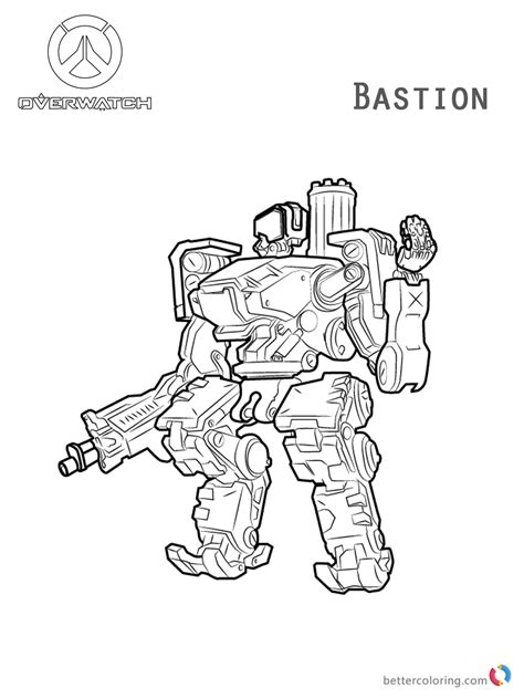 overwatch coloring book 1945683066 bastion from overwatch coloring pages free printable coloring pages