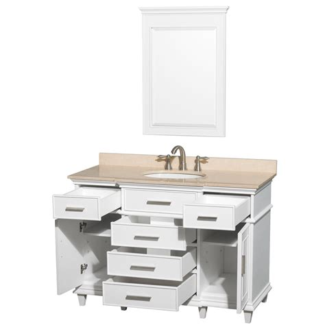 48 Inch Bathroom Vanity Cabinet Berkeley 48 Quot Inch White Finish Bathroom Vanity Cabinet