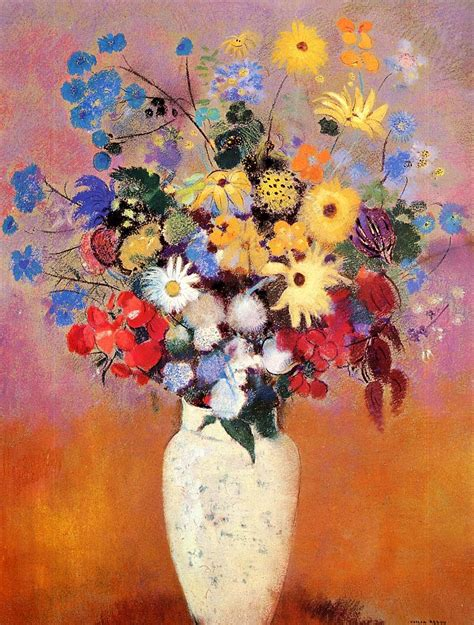 Paintings Of Flowers In A Vase by White Vase With Flowers Odilon Redon Wikiart Org