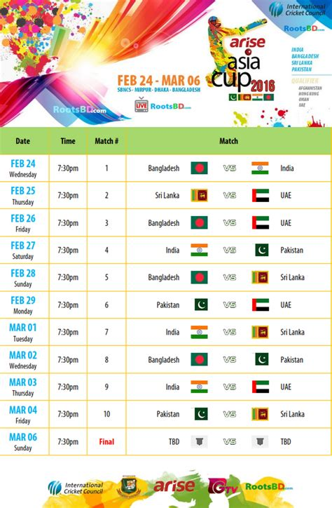 asia cup 2016 t20 fixtures points table live tv tickets