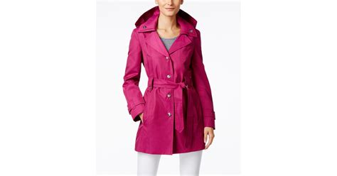 Hooded Snap Button Coat lyst fog snap button hooded trench coat in pink