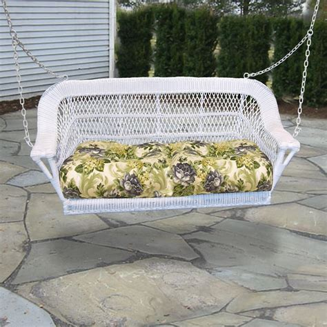 wicker outdoor swing north cape manchester resin wicker porch swing white
