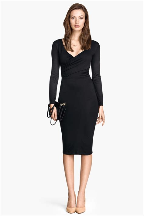Harsey Dress sleeved jersey dress black sale h m us
