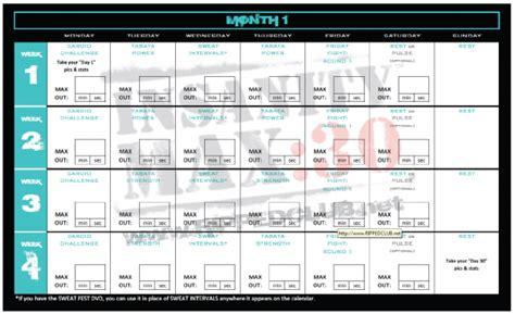 hch roadfitness insanity max  calendar