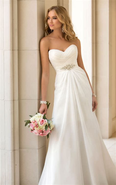 Sweetheart Wedding Dress by 2015 Trend Chiffon Strapless Sweetheart Slim A Line
