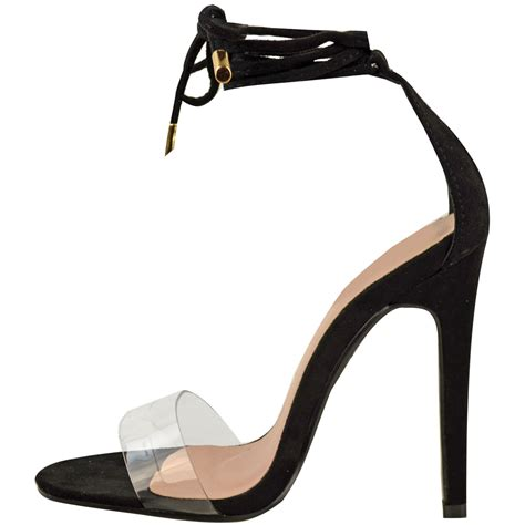 celeb high heel new womens ladies high heel perspex ankle strappy celeb