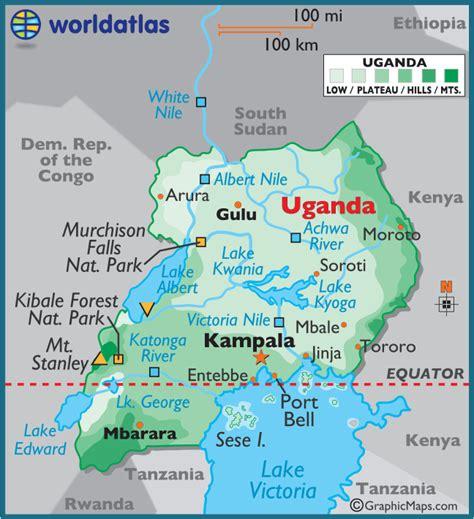 5 themes of geography uganda uganda large color map