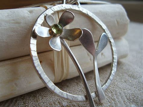 Handmade Silver Jewellry - handmade silver flowers necklace by caroline cowen