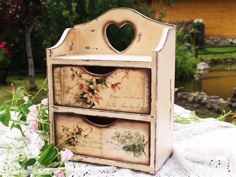 Decoupage Kitchen - handmade commode cabinet box for spices tea bags