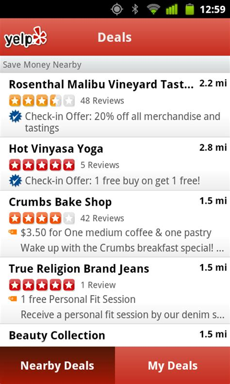 yelp app android yelp app updated to add new groupon now style quot deals quot feature