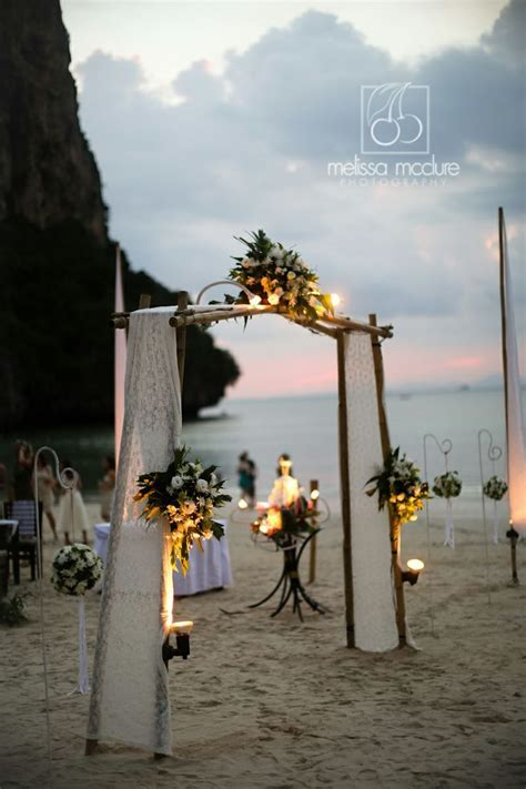 melissamcclure.com Thailand beach ceremony, sunset, Railay