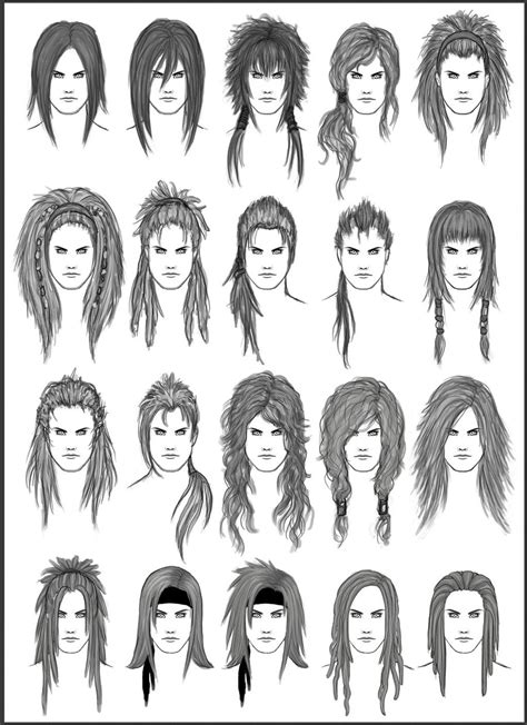 hairstyles for long hair drawing men s hair set 2 different hairstyles for boys