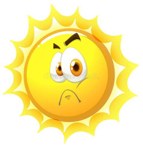 sun l for sad sun with sad face stock vector image 58834241