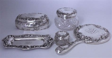 Sterling Silver Vanity Set by Antique Gorham Sterling Silver Dresser Vanity Set Powder