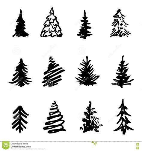 christmas tree icon brush hand made stroke ink design