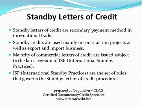 Standby Credit Letter To Letter Of Credit Presentation 1 Lc