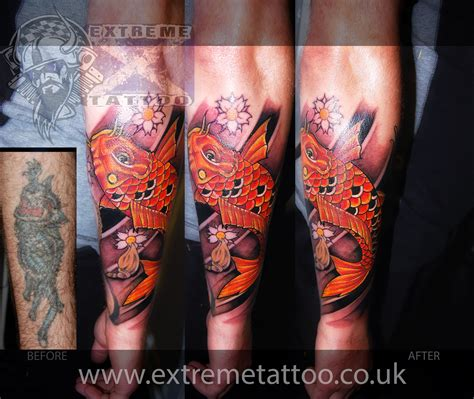 tribal japanese tattoo japanese koi fish cover up sleeve in