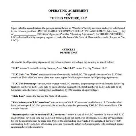 company operating agreement template sle operating agreement 9 exles format
