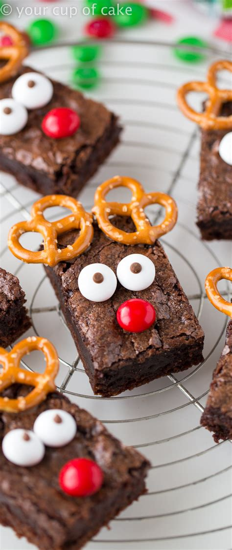 no cook office christmas party food easy rudolph brownies your cup of cake