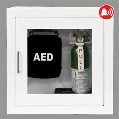 AED & Emergency O2 Wall Cabinet, White Surface Mount