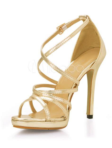 Cross High Heel Sandals pu leather criss cross high heel sandals milanoo