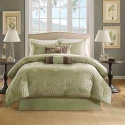 Cal King Bedding Set Beautful Tropical Palm Leaf Green Sage Brown Comforter Set