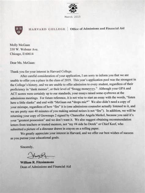 harvard rejection letter pin strong auf stuff witzig 1277