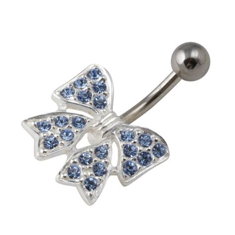 light blue belly button ring light blue strass 925 silver 316l steel bowtie belly bar