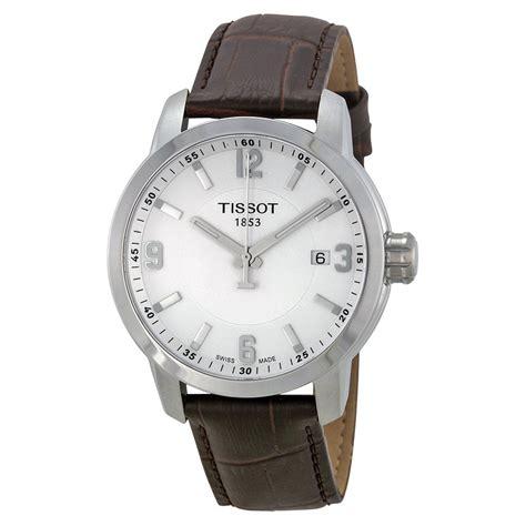 Tissot Prc200 Silver White tissot prc 200 white brown leather s t0554101601701 prc200 t sport tissot