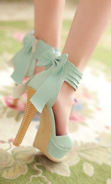 Wedges Pastel Series shoes pastel mint brown high heels pumps bow mint