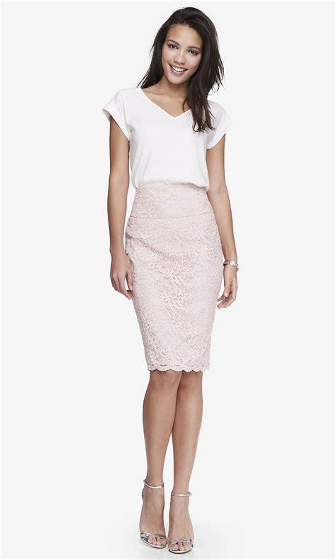 high yoke waist lace midi pencil skirt pink from express