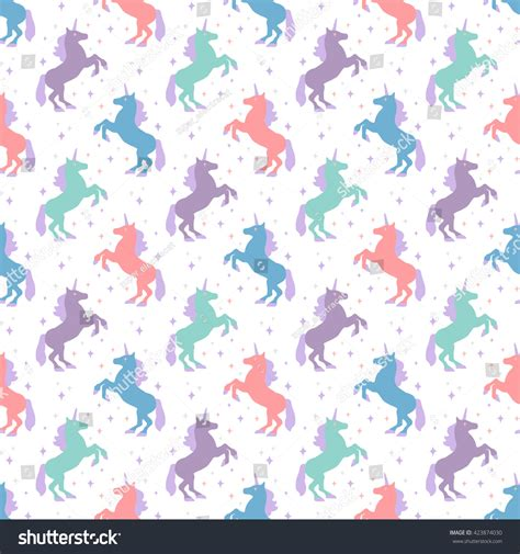 magic pattern background seamless pattern unicorn silhouette vector illustration