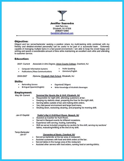 sample bartender resume pin on resume template resume objective examples job