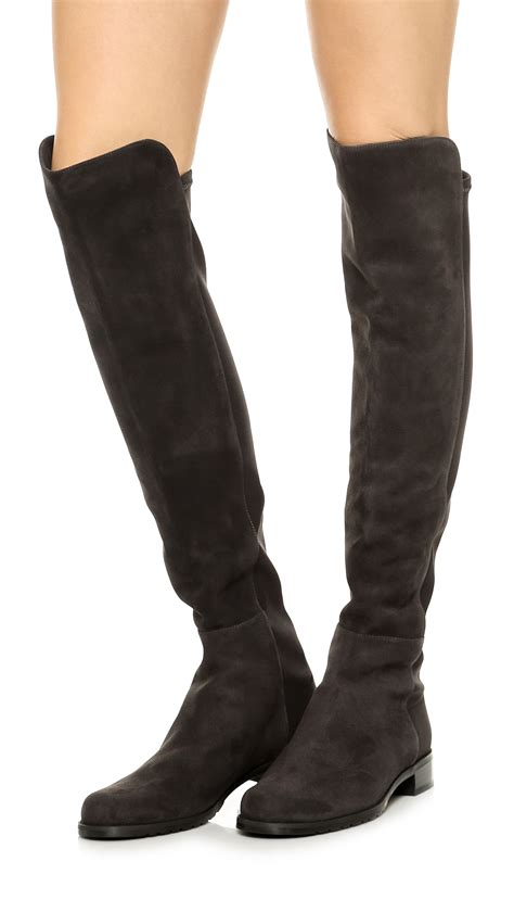 stuart weitzman 5050 suede stretch boots anthracite in