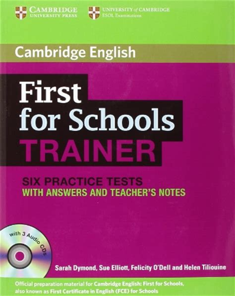 first for schools trainer 110744604x first for schools trainer six practice tests with answers and audio cds 3