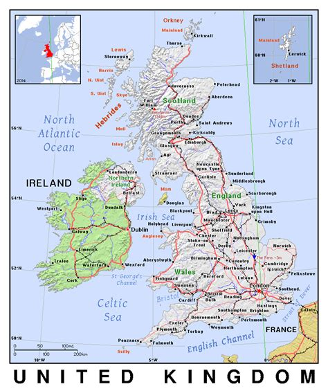 printable road map of great britain detailed political map of united kingdom with relief