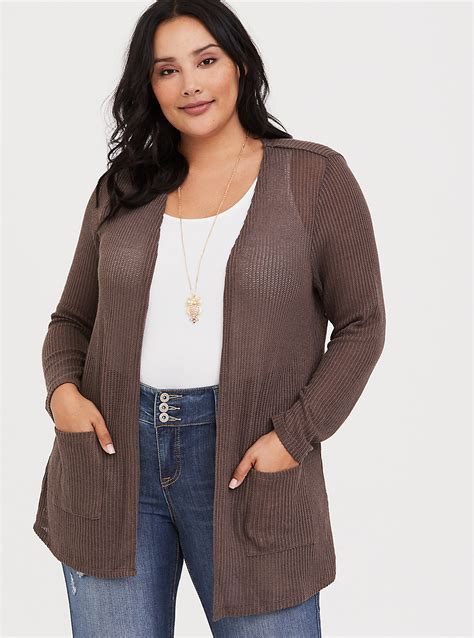 Ribbed Knit Cardigan taupe ribbed knit cardigan torrid