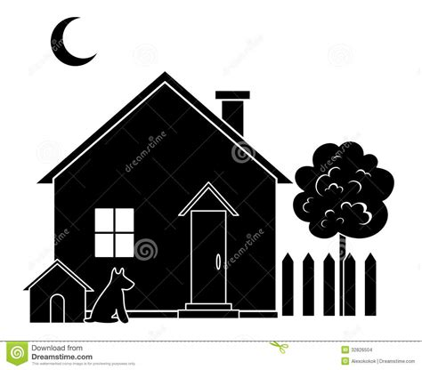 dog house silhouette house and tree silhouette stock images image 32826504