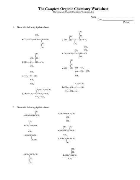 organic chemistry infographic the complete organic chemistry worksheet pdf organic chem